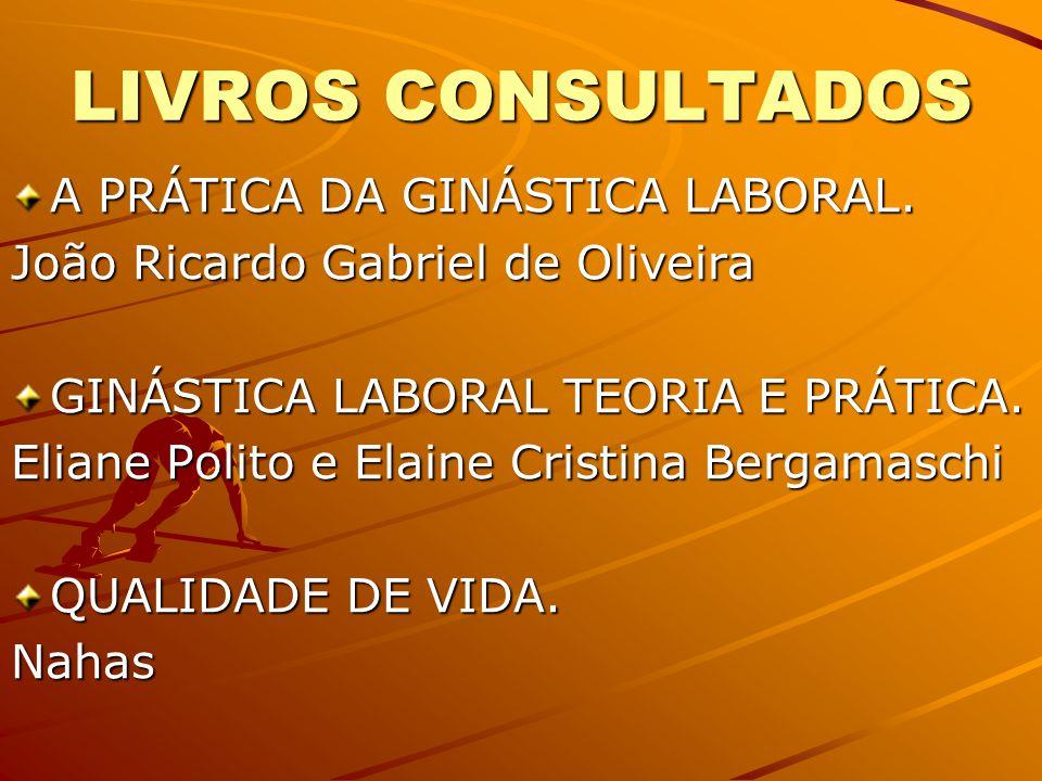 LIVROS CONSULTADOS A PRÁTICA DA GINÁSTICA LABORAL.