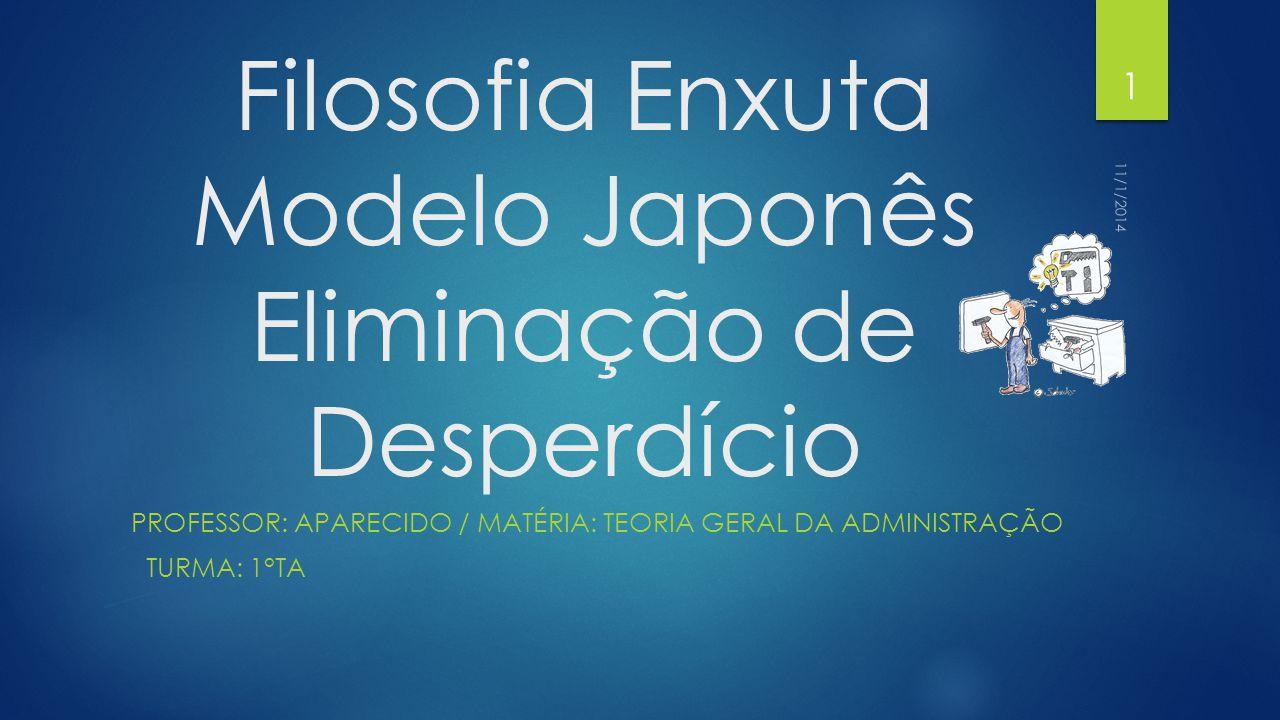 Filosofia Enxuta Modelo Japonês Eliminação de Desperdício