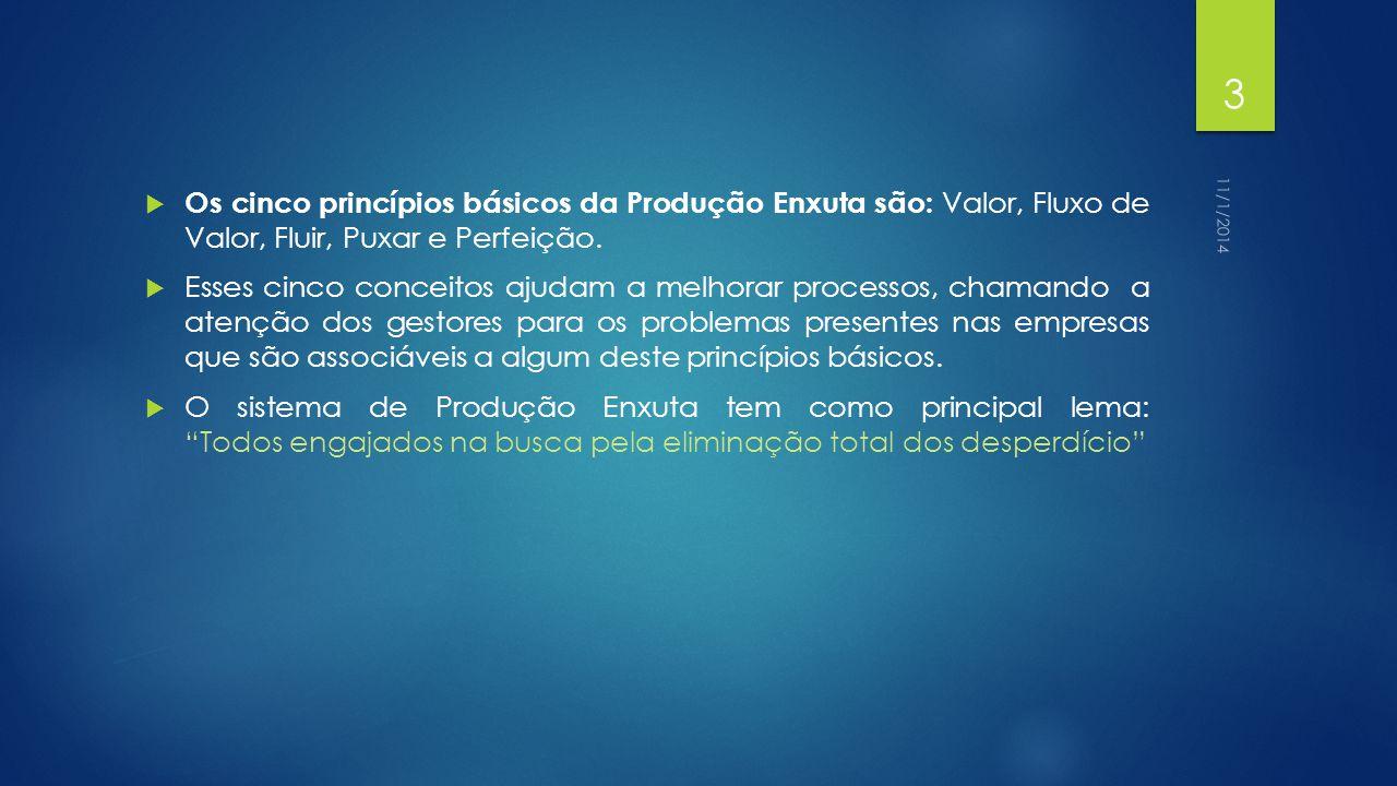 Os cinco princípios básicos da Produção Enxuta são: Valor, Fluxo de Valor, Fluir, Puxar e Perfeição.