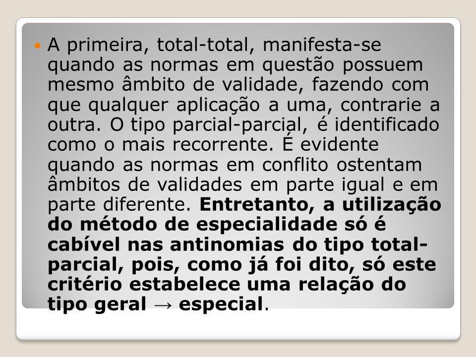 A primeira, total-total, manifesta-se quando as normas em questão possuem mesmo âmbito de validade, fazendo com que qualquer aplicação a uma, contrarie a outra.