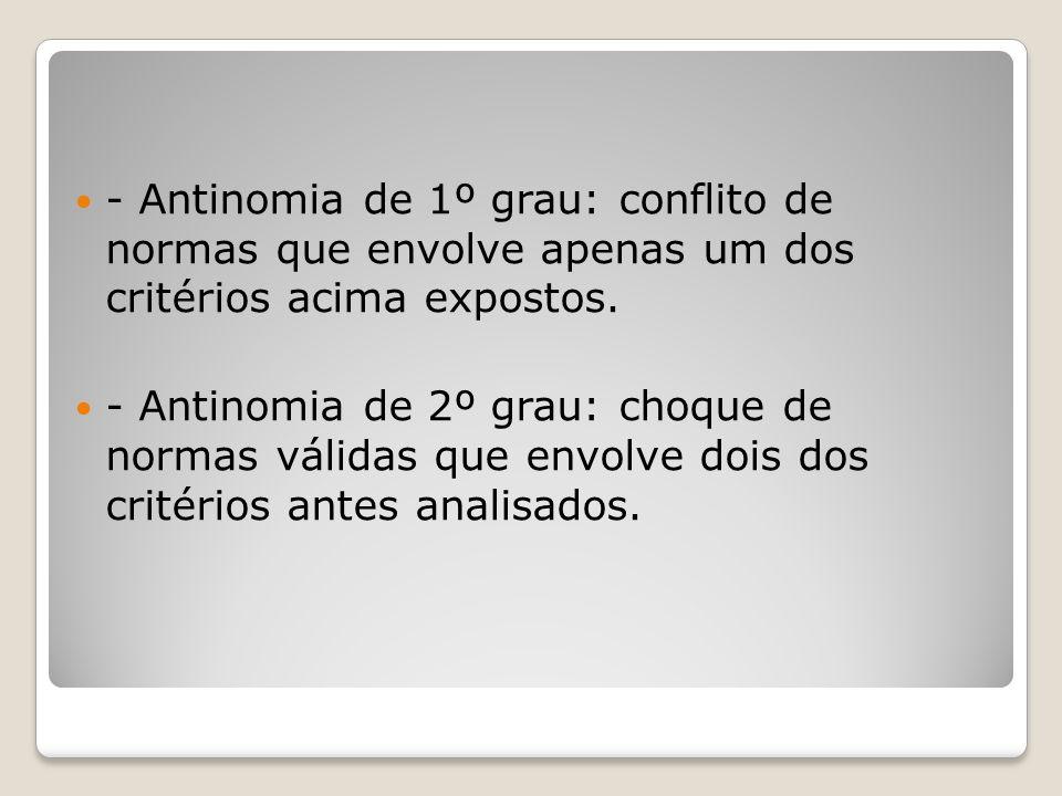 - Antinomia de 1º grau: conflito de normas que envolve apenas um dos critérios acima expostos.