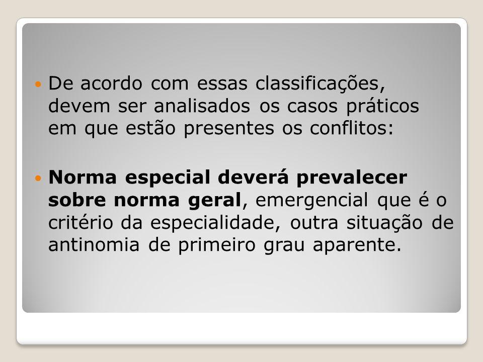 De acordo com essas classificações, devem ser analisados os casos práticos em que estão presentes os conflitos: