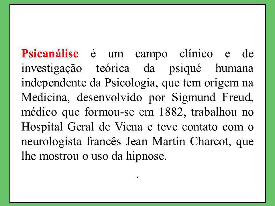 Psicanálise é um campo clínico e de investigação teórica da psiqué humana independente da Psicologia, que tem origem na Medicina, desenvolvido por Sigmund Freud, médico que formou-se em 1882, trabalhou no Hospital Geral de Viena e teve contato com o neurologista francês Jean Martin Charcot, que lhe mostrou o uso da hipnose.