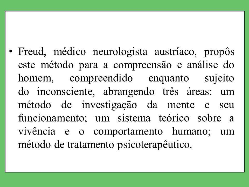 Freud, médico neurologista austríaco, propôs este método para a compreensão e análise do homem, compreendido enquanto sujeito do inconsciente, abrangendo três áreas: um método de investigação da mente e seu funcionamento; um sistema teórico sobre a vivência e o comportamento humano; um método de tratamento psicoterapêutico.