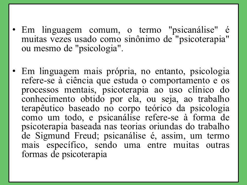 Em linguagem comum, o termo psicanálise é muitas vezes usado como sinônimo de psicoterapia ou mesmo de psicologia .
