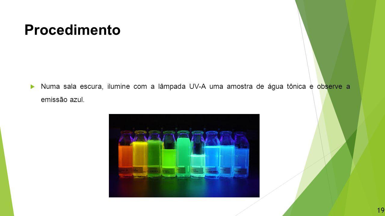 Procedimento Numa sala escura, ilumine com a lâmpada UV-A uma amostra de água tônica e observe a emissão azul.