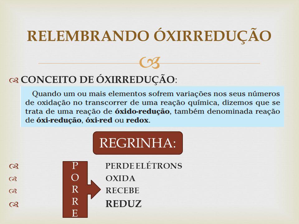 RELEMBRANDO ÓXIRREDUÇÃO