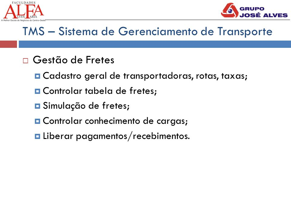 TMS – Sistema de Gerenciamento de Transporte