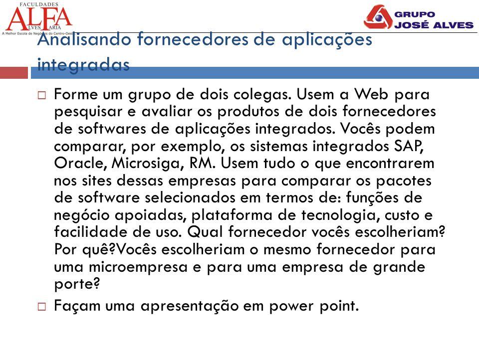 Analisando fornecedores de aplicações integradas