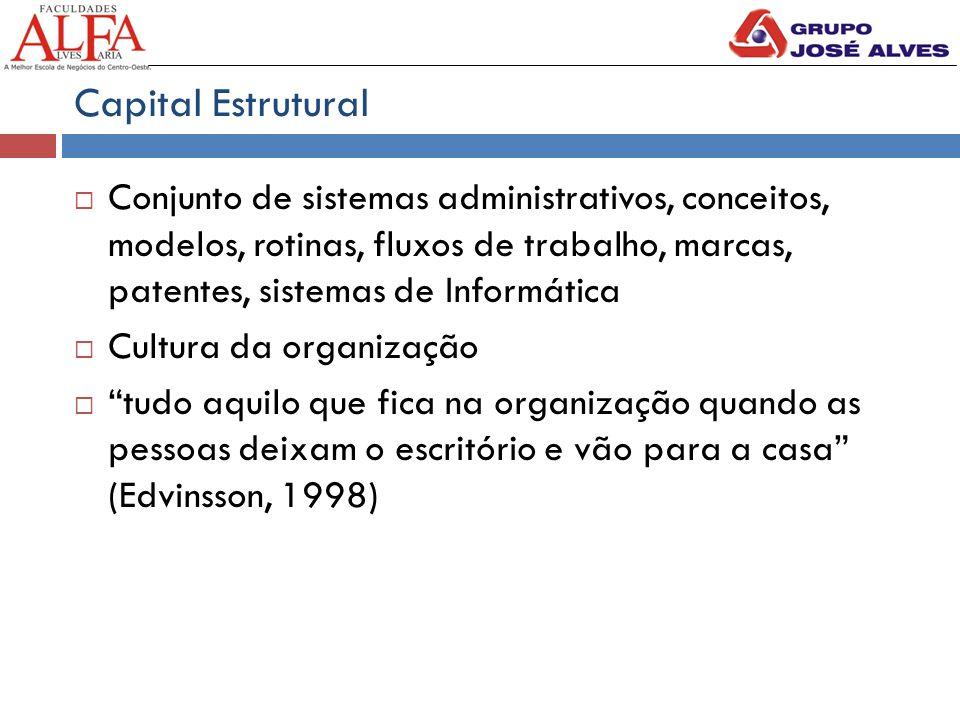 Capital Estrutural Conjunto de sistemas administrativos, conceitos, modelos, rotinas, fluxos de trabalho, marcas, patentes, sistemas de Informática.