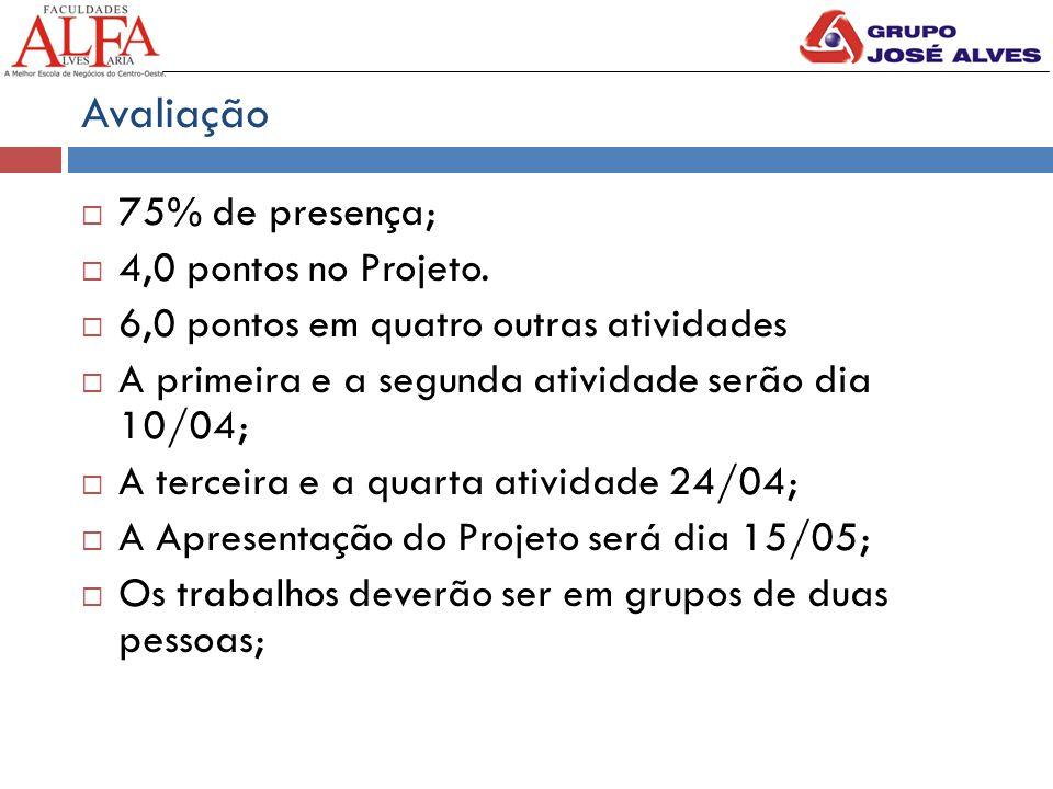 Avaliação 75% de presença; 4,0 pontos no Projeto.