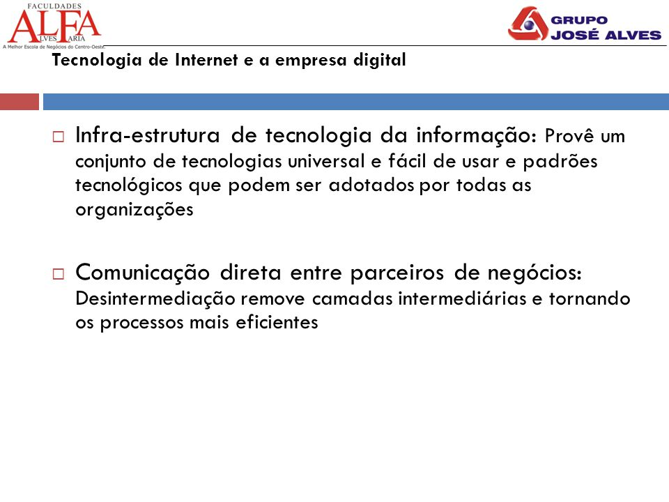 Tecnologia de Internet e a empresa digital
