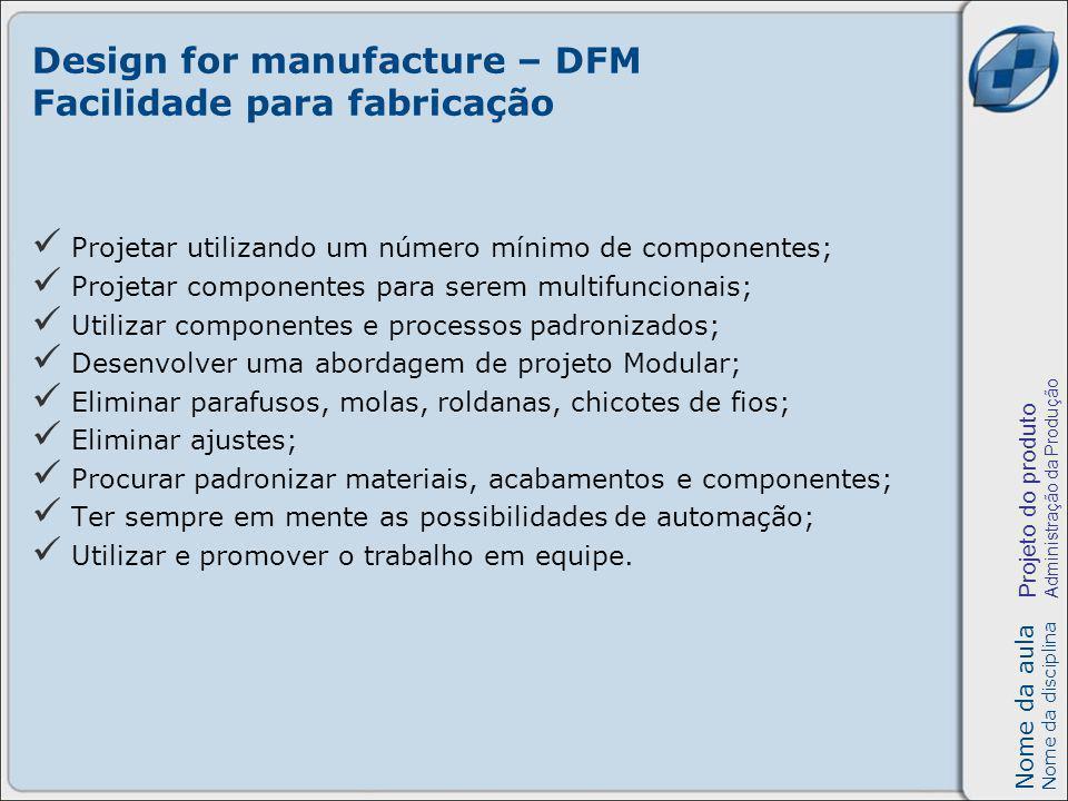 Design for manufacture – DFM Facilidade para fabricação