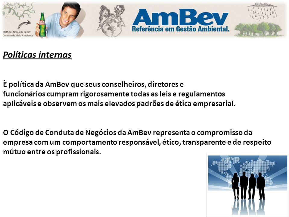 Políticas internas È política da AmBev que seus conselheiros, diretores e. funcionários cumpram rigorosamente todas as leis e regulamentos.