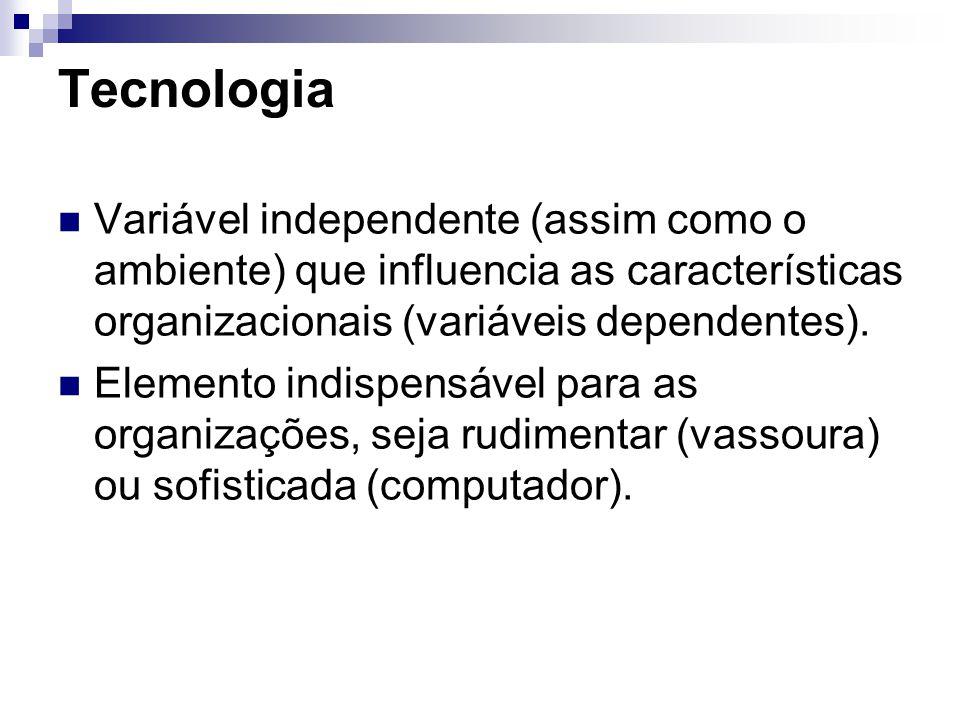 Tecnologia Variável independente (assim como o ambiente) que influencia as características organizacionais (variáveis dependentes).