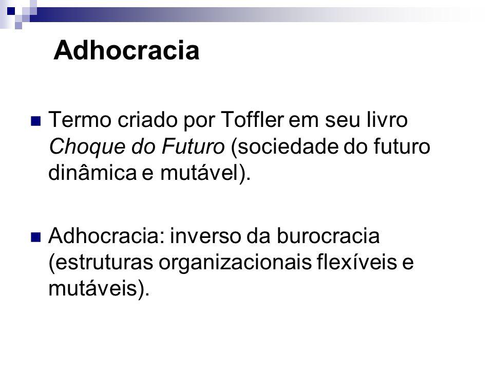 Adhocracia Termo criado por Toffler em seu livro Choque do Futuro (sociedade do futuro dinâmica e mutável).