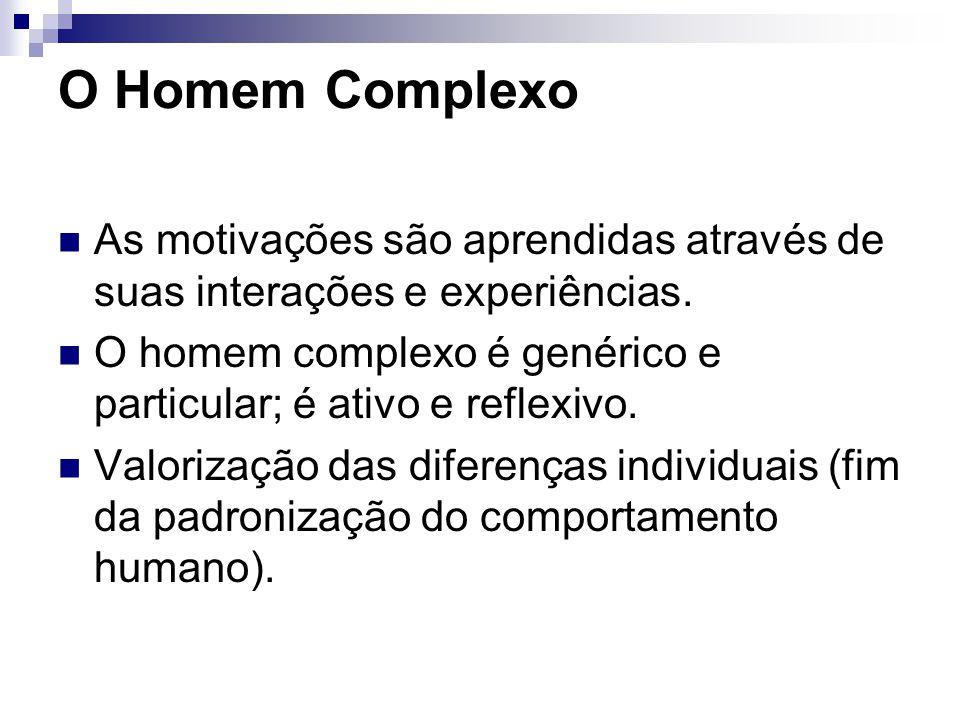 O Homem Complexo As motivações são aprendidas através de suas interações e experiências.