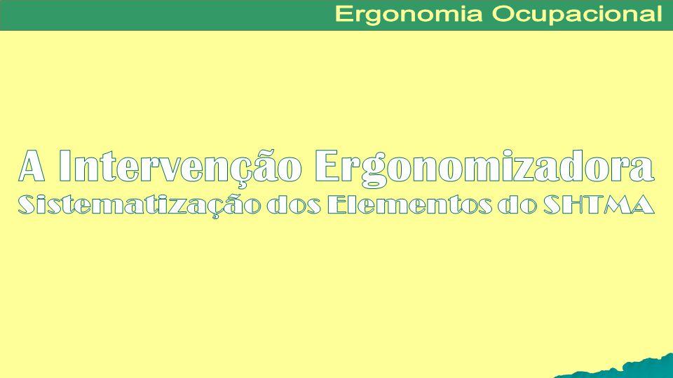 A Intervenção Ergonomizadora Sistematização dos Elementos do SHTMA