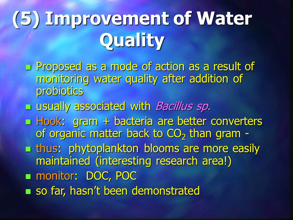 (5) Improvement of Water Quality