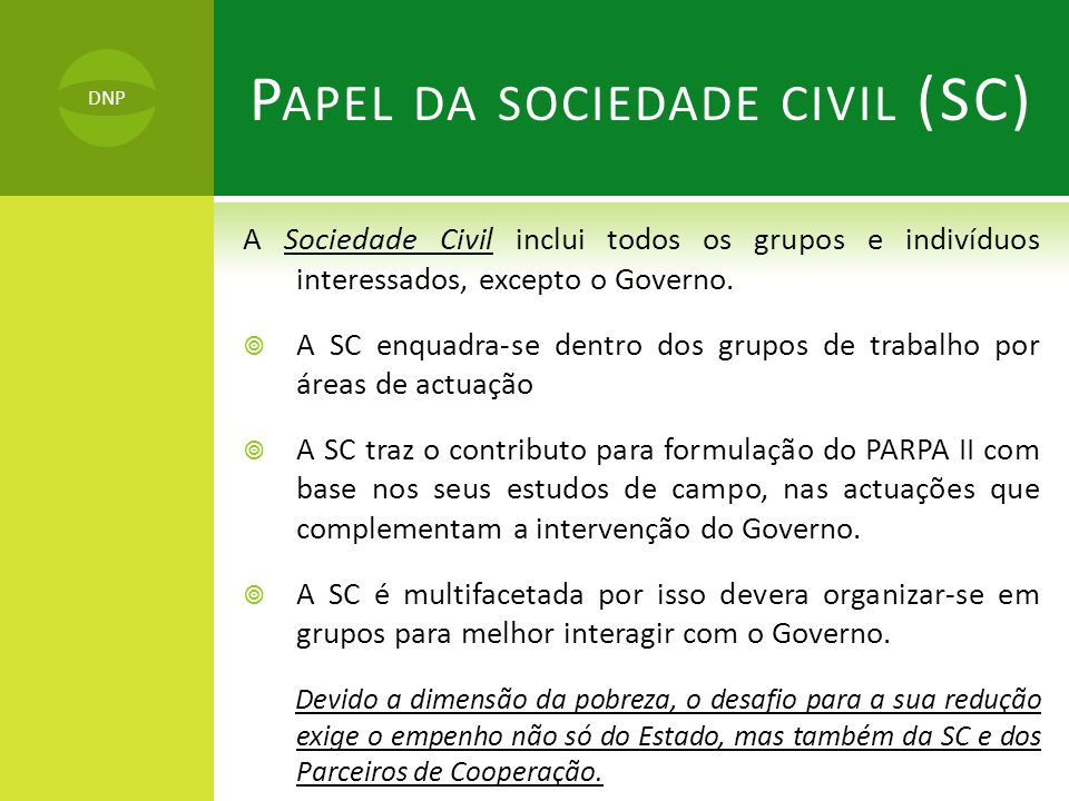 Papel da sociedade civil (SC)