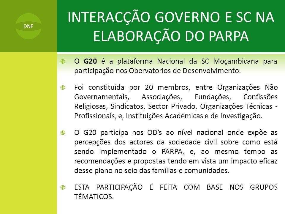INTERACÇÃO GOVERNO E SC NA ELABORAÇÃO DO PARPA