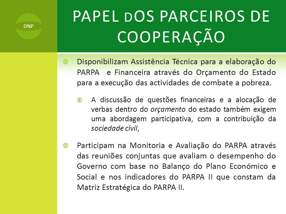 PAPEL DOS PARCEIROS DE COOPERAÇÃO