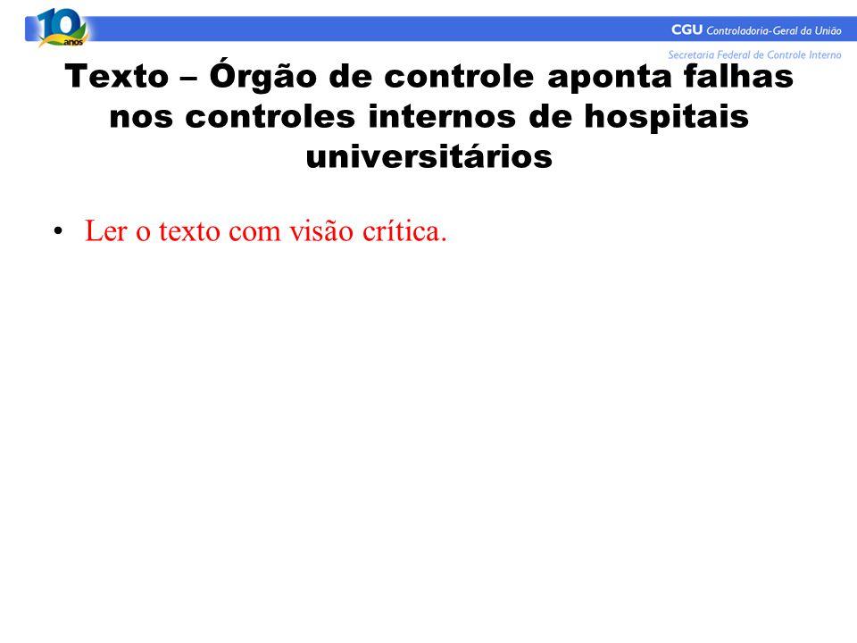 Texto – Órgão de controle aponta falhas nos controles internos de hospitais universitários