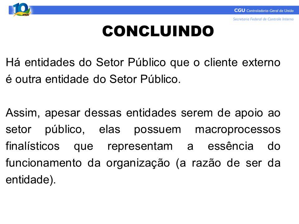 CONCLUINDO Há entidades do Setor Público que o cliente externo é outra entidade do Setor Público.