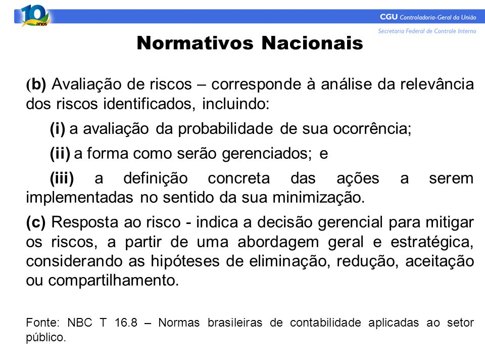 Normativos Nacionais (b) Avaliação de riscos – corresponde à análise da relevância dos riscos identificados, incluindo: