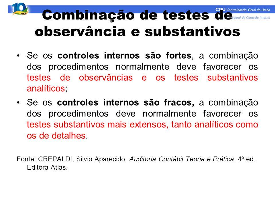 Combinação de testes de observância e substantivos