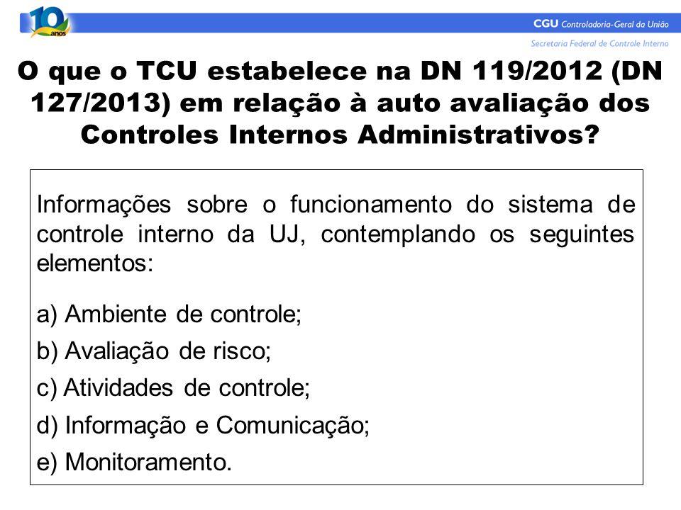 O que o TCU estabelece na DN 119/2012 (DN 127/2013) em relação à auto avaliação dos Controles Internos Administrativos