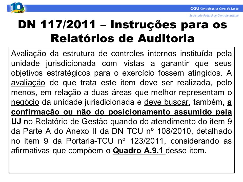 DN 117/2011 – Instruções para os Relatórios de Auditoria