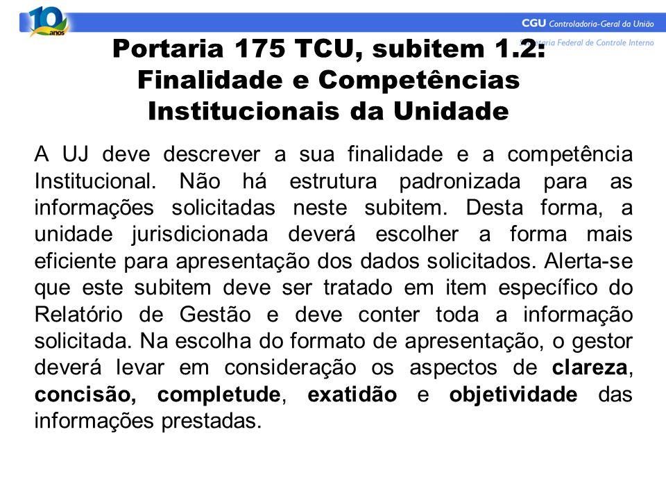 Portaria 175 TCU, subitem 1.2: Finalidade e Competências Institucionais da Unidade