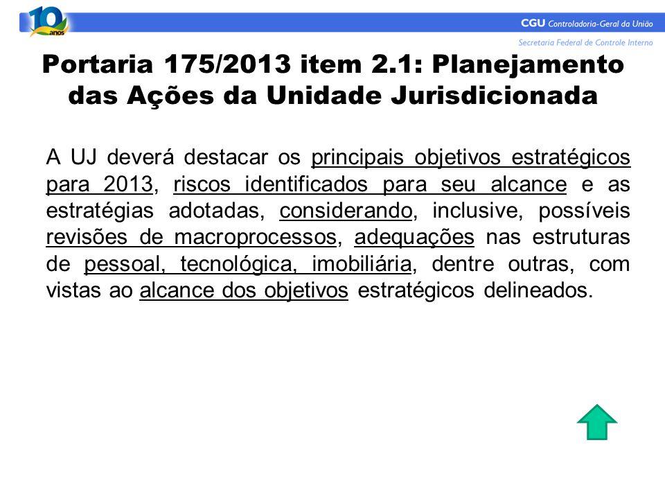Portaria 175/2013 item 2.1: Planejamento das Ações da Unidade Jurisdicionada