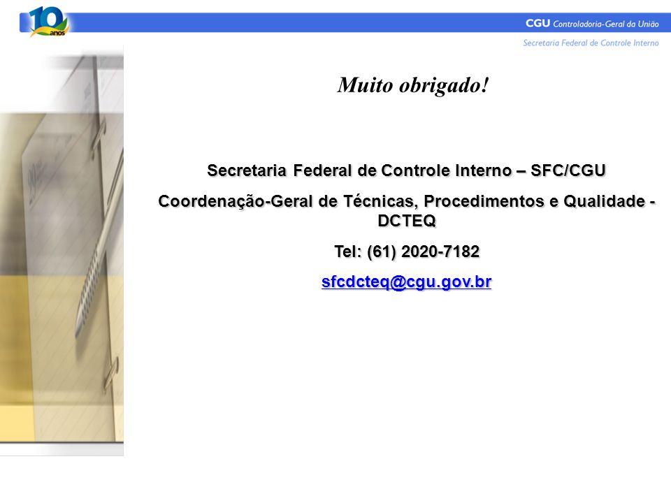 Muito obrigado! Secretaria Federal de Controle Interno – SFC/CGU