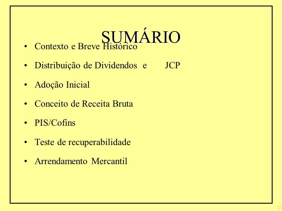SUMÁRIO Contexto e Breve Histórico Distribuição de Dividendos e JCP
