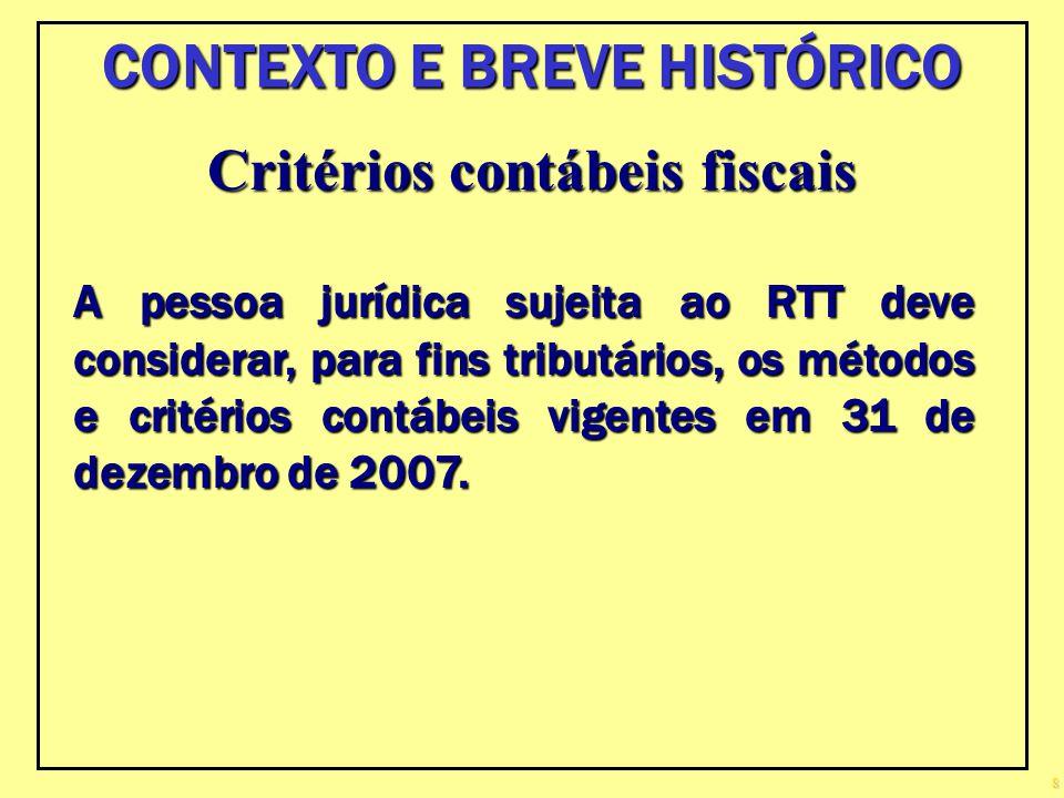 CONTEXTO E BREVE HISTÓRICO Critérios contábeis fiscais