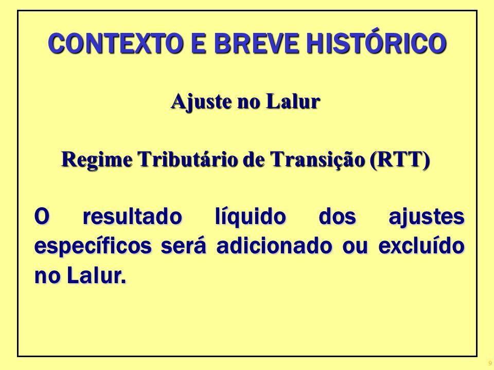 CONTEXTO E BREVE HISTÓRICO Regime Tributário de Transição (RTT)