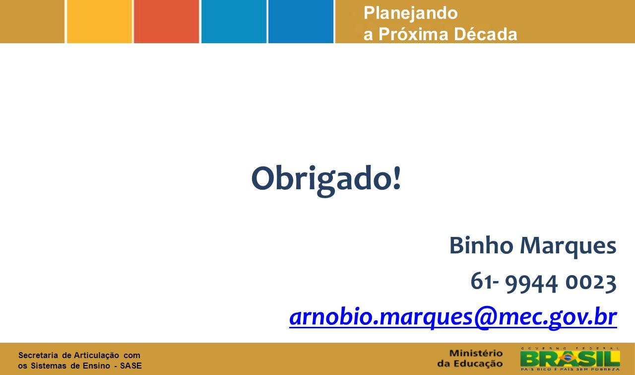 Obrigado! Binho Marques 61- 9944 0023 arnobio.marques@mec.gov.br
