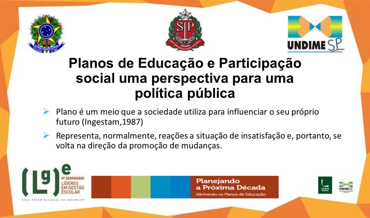 Planos de Educação e Participação social uma perspectiva para uma política pública