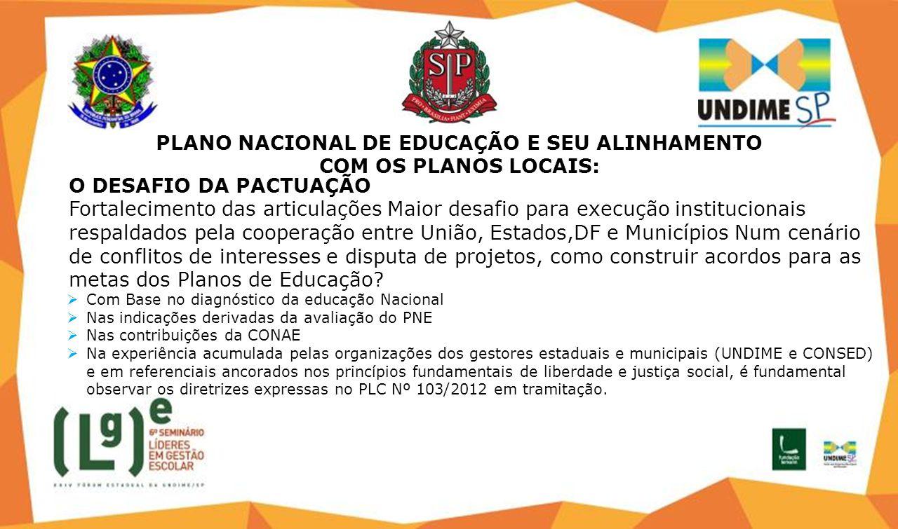 PLANO NACIONAL DE EDUCAÇÃO E SEU ALINHAMENTO COM OS PLANOS LOCAIS: