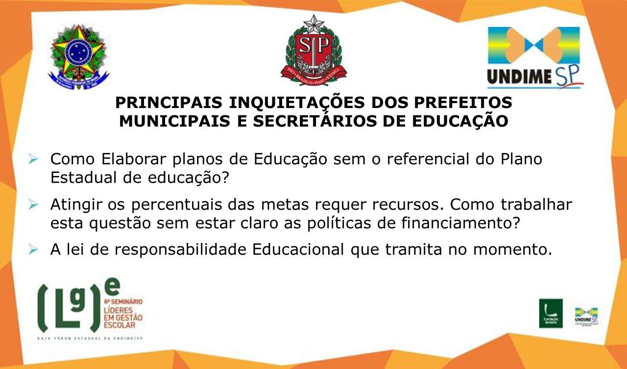 PRINCIPAIS INQUIETAÇÕES DOS PREFEITOS MUNICIPAIS E SECRETÁRIOS DE EDUCAÇÃO