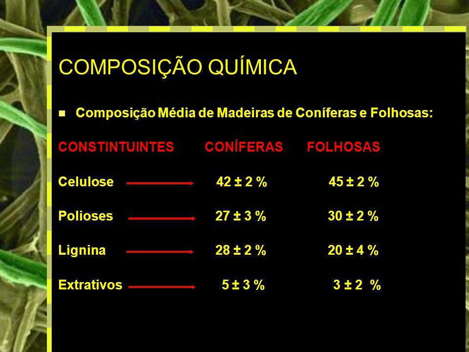 COMPOSIÇÃO QUÍMICA Composição Média de Madeiras de Coníferas e Folhosas: CONSTINTUINTES CONÍFERAS FOLHOSAS.