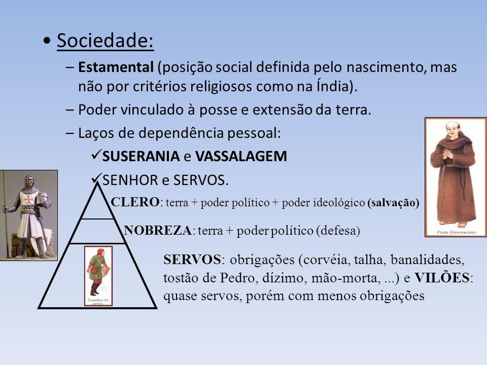 Sociedade: Estamental (posição social definida pelo nascimento, mas não por critérios religiosos como na Índia).