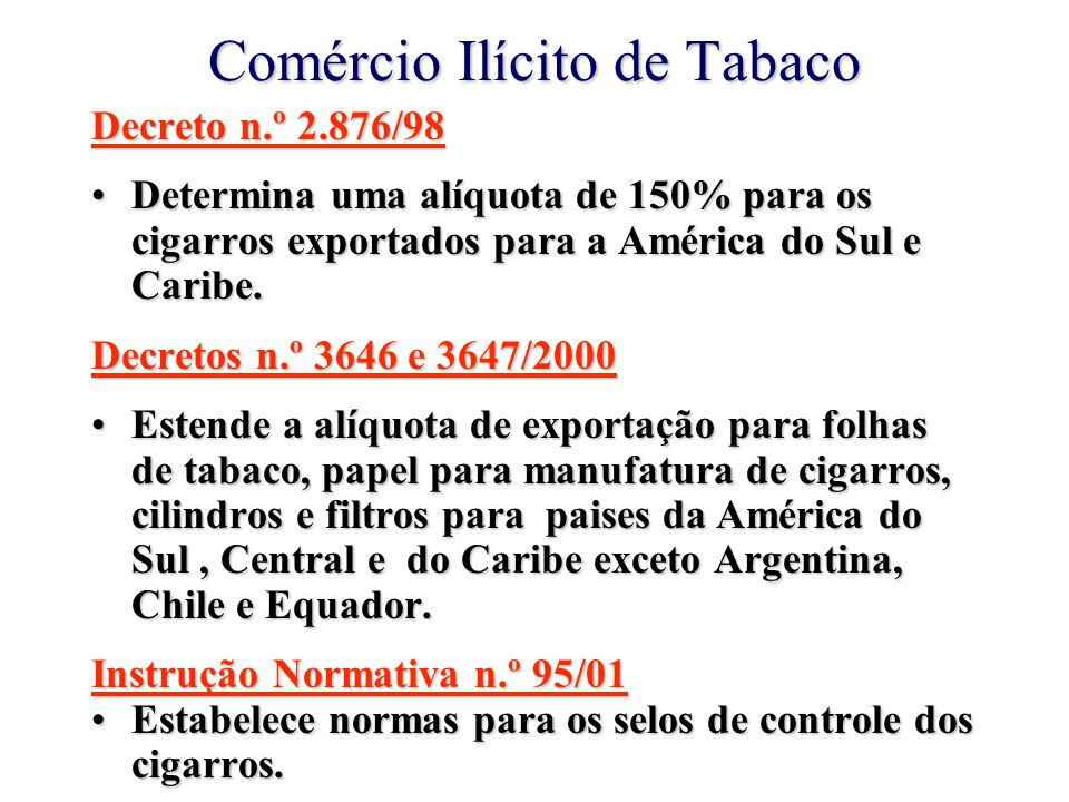 Comércio Ilícito de Tabaco