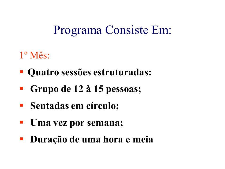 Programa Consiste Em: 1º Mês: Quatro sessões estruturadas: