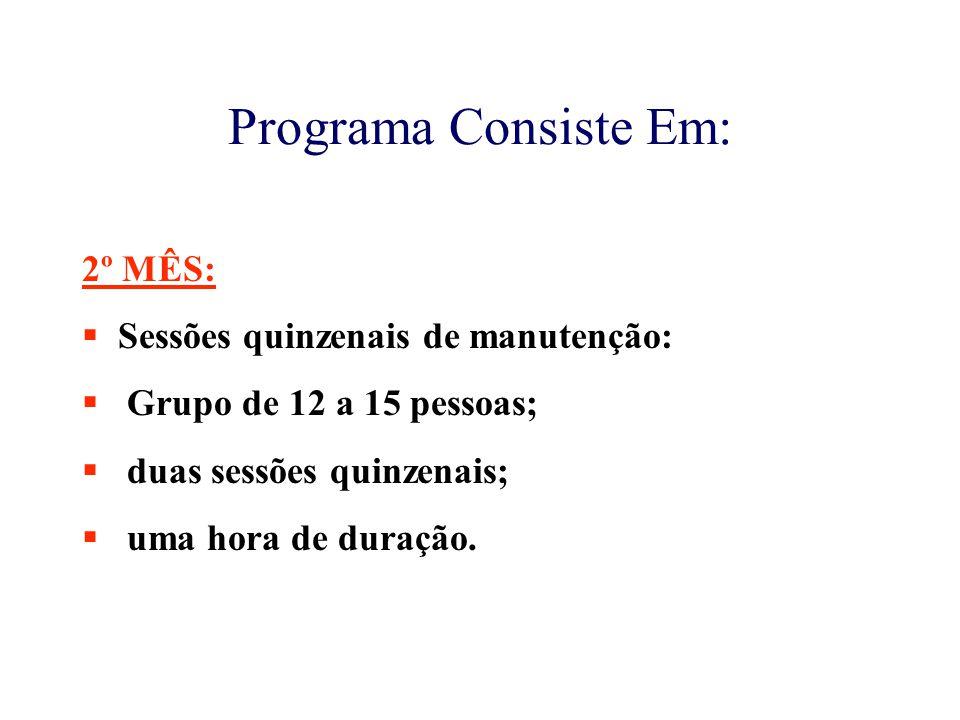 Programa Consiste Em: 2º MÊS: Sessões quinzenais de manutenção: