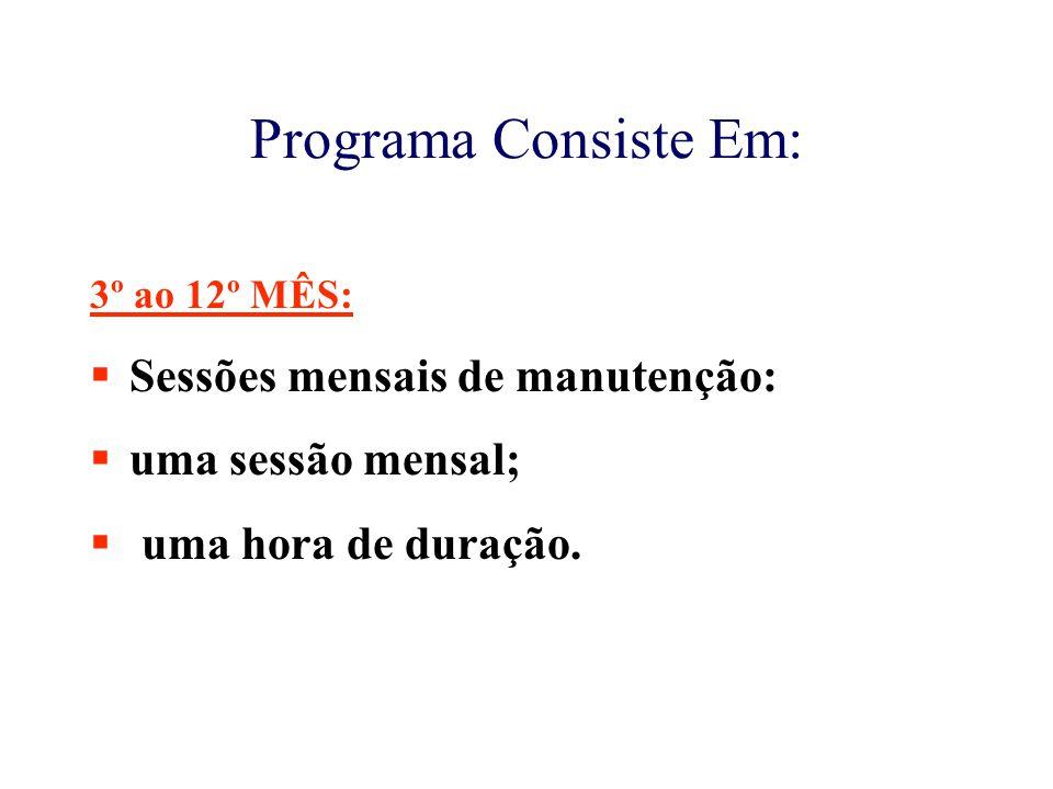 Programa Consiste Em: Sessões mensais de manutenção: