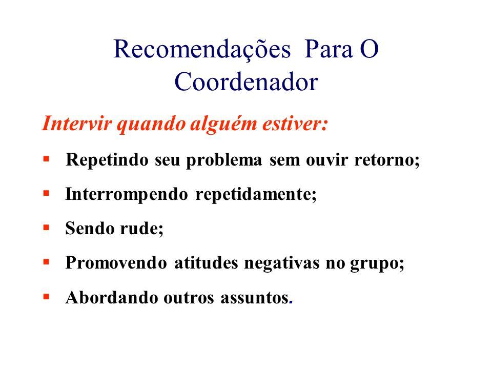 Recomendações Para O Coordenador