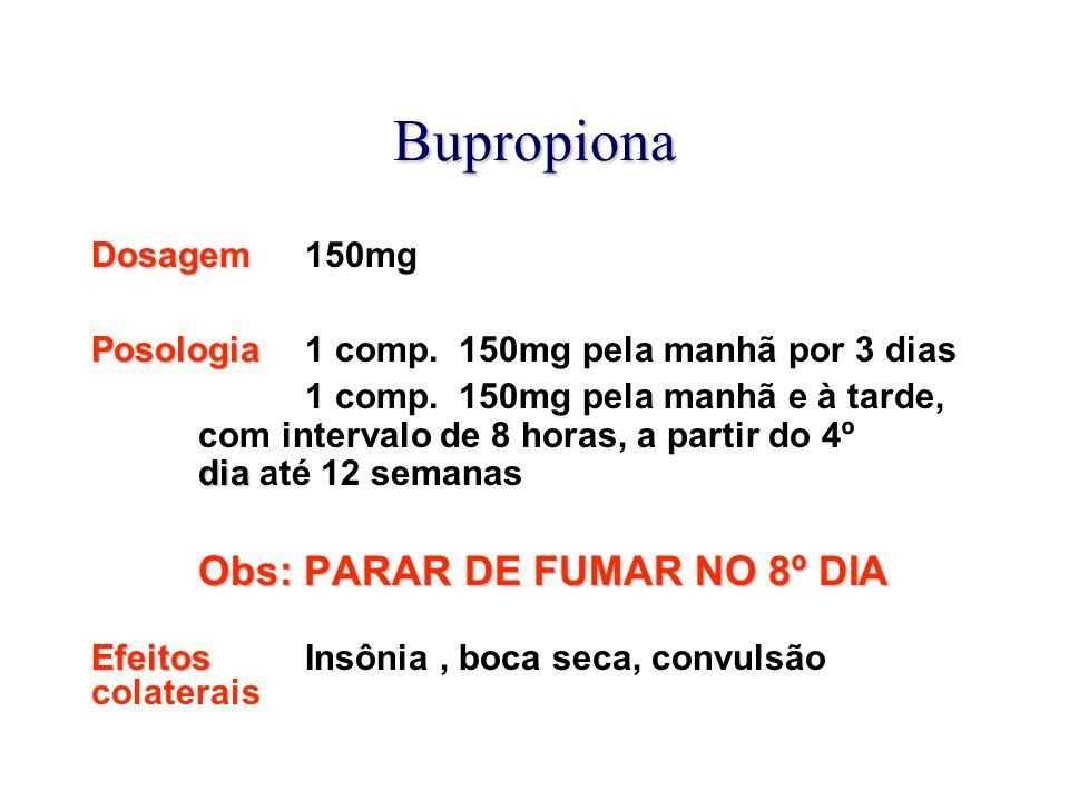 Bupropiona Dosagem 150mg Posologia 1 comp. 150mg pela manhã por 3 dias